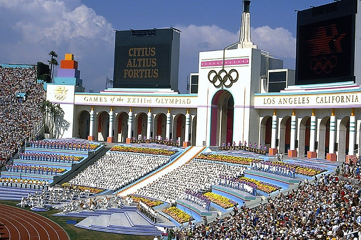 Opening ceremony of the 1984 Summer Olympic Games at the L.A. Coliseum