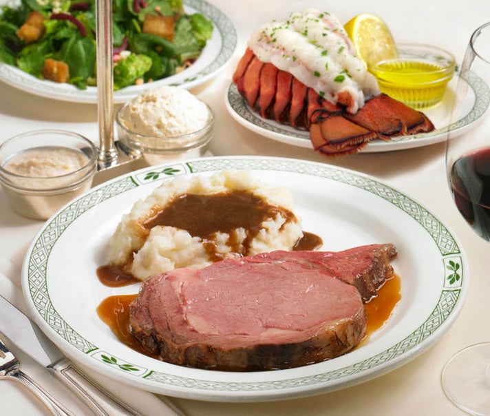 California Cut with lobster tail at Lawry's The Prime Rib
